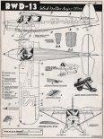 RWD-13, plany modelarskie. (Źródło: Modelarz nr 2/1956).