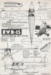 RWD-15, plany modelarskie. (Źródło: Modelarz 1/1956).