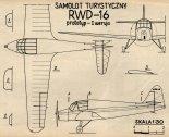 """RWD-16 """"Osa"""", plany modelarskie. (Źródło: Modelarz nr 9/1972)."""