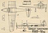 RWD-16 bis, plany modelarskie. (Źródło: Modelarz nr 9/1972).