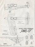 RWD-17, plany modelarskie. (Źródło: Modelarz nr 7/1956).