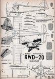 RWD-20, plany modelarskie. (Źródło: Modelarz nr 7/1958).
