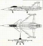 """SAAB JAS-39 """"Gripen"""", rysunek w trzech rzutach. (Źródło: Lotnictwo Aviation International nr 7/1991)."""