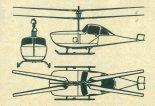 """Rotorcraft """"Grasshopper"""", rysunek w trzech rzutach. (Źródło: Skrzydlata Polska nr 21/1963)."""