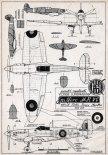 "Supermarine ""Spitfire"" Mk.Vb, plany modelarskie. (Źródło: Modelarz nr 4/1957)."
