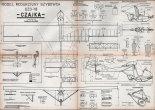 """SZD-18 """"Czajka""""., plany modelarskie. (Źródło: Modelarz nr 4/1960)."""