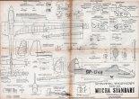 """SZD-22 """"Mucha Standard"""", plany modelarskie. (Źródło: Modelarz nr 9/1960)."""