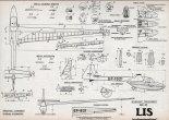 """SZD-25 """"Lis"""", plany modelarskie. (Źródło: Modelarz nr 10/1962)."""