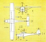 Samolot 3Xtrim, rysunek w rzutach. (Źródło: Przegląd Lotniczy Aviation Revue nr 8/2000).
