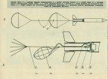Rakieta RP-2: schemat zespołu spadochronów i schemat układu pływakowego wersji OW. (Źródło: Skrzydlata Polska nr 49/1963).