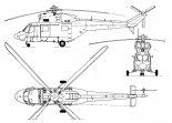 """PZL W-3 """"Sokół"""", rysunek w trzech rzutach. (Źródło: Technika Lotnicza i Astronautyczna  nr 4-5/1986)."""
