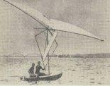 Łódka Jerzego Wolfa podczas prób na Zalewie Zegrzyńskim w 1973 r. (Źródło: Żagle nr 12/1973).