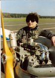 Silnik samolotu w pierwszej wersji samolotu, 1991r.  (Źródło: Copyright Jerzy Adamiec).