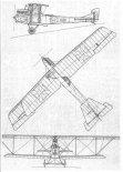 Aviatik (Österreichische) B-III seria 33, rysunek w rzutach. (Źródło: archiwum).