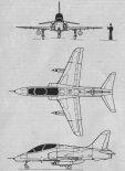 """BAe """"Hawk"""" T.1, rysunek w trzech rzutach. (Źródło: Skrzydlata Polska nr 47/1978)."""