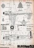 Bloch MB-152C1, plany modelarskie. (Źródło: Modelarz nr 5/1962).