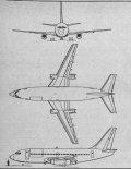 Boeing 737-200C, rysunek w trzech rzutach. (Źródło: Skrzydlata Polska nr 40/1978).