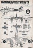 """Bristol 156 """"Beaufighter"""" Mk.I, plany modelarskie. (Źródło: Modelarz nr 8/1957)."""