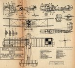 "Bristol F2B ""Fighter"", plany modelarskie. (Źródło: Modelarz nr 3/1973)."