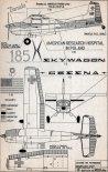 """Cessna 185A """"Skywagon"""" (N1649Z). Schemat malowania samolotu  w służbie polskiego lotnictwa sanitarnego. (Źródło: Modelarz nr 6/1966)."""