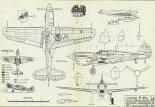 """Curtiss P-40M """"Warhawk"""", plany modelarskie. (Źródło: Modelarz nr 1/1975)."""