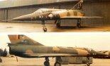 """Dwa zdjęcia """"Mirage 5 BA"""" nr BA21 wykonane na początku roku 1995 r. w Dęblinie. (Źródło: Andrzej Rogucki i Wojciech Łuczak via Aeroplan nr 2/1995)."""