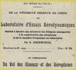 """Strona tytułowa dzieła Stefana Drzewieckiego: """"Laboratoire d'Essais Aerodynamiques"""" (Laboratorium Badań Aerodynamicznych). (Źródła: Skrzydlata Polska nr 43/1978)."""
