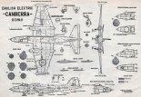 """English Electric """"Canberra"""" B (I) Mk. 8, plany modelarskie. (Źródło: Modelarz nr 12/1958)."""